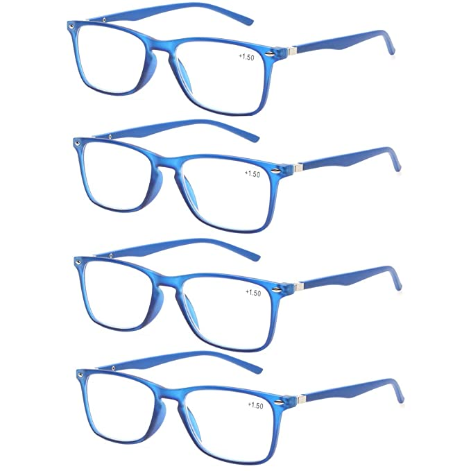 3d51d85c0b Reading Glasses with Strong Spring Hinge Eyeglasses Frames for men and women  readers (4 Blue