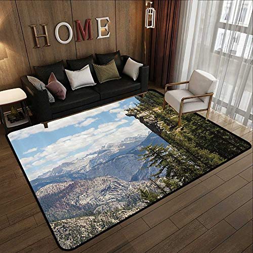 Bathroom Rugs,Americana Landscape Decor,Cliffs in Yosemite National Parks Wall Art Cathedral Peaks Area,Green Blue 78.7