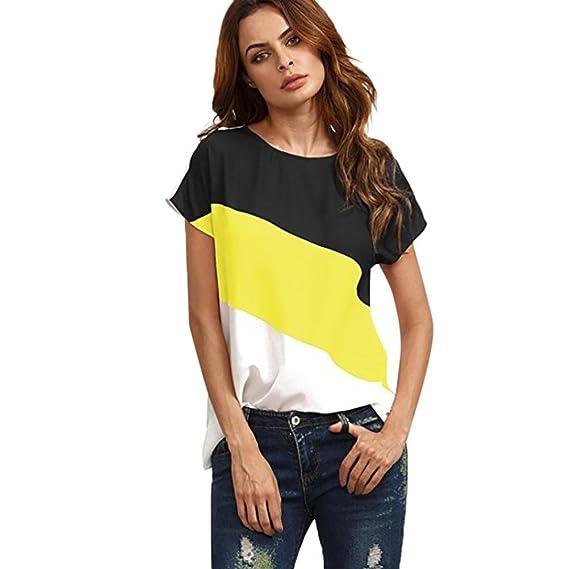 Mujer Redondo Manga Corto Camisas Blusas Color Block T-Shirt Camisetas ❤ Manadlian (