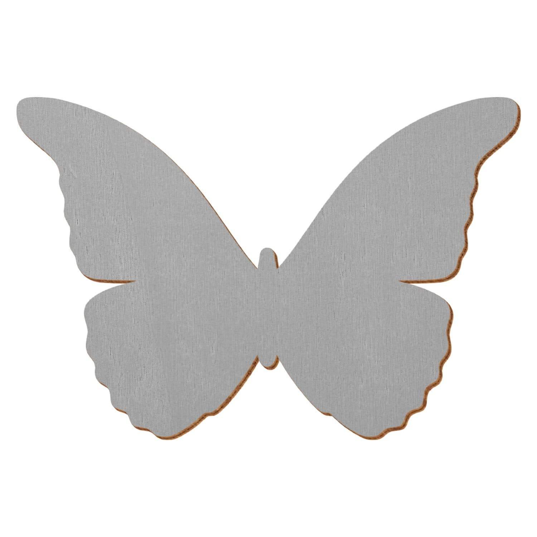 Grauer Holz Schmetterling - 3-50cm Flügelspannweite Streudeko Basteln Deko Tischdeko, Größe 10cm, Pack mit 50 Stück
