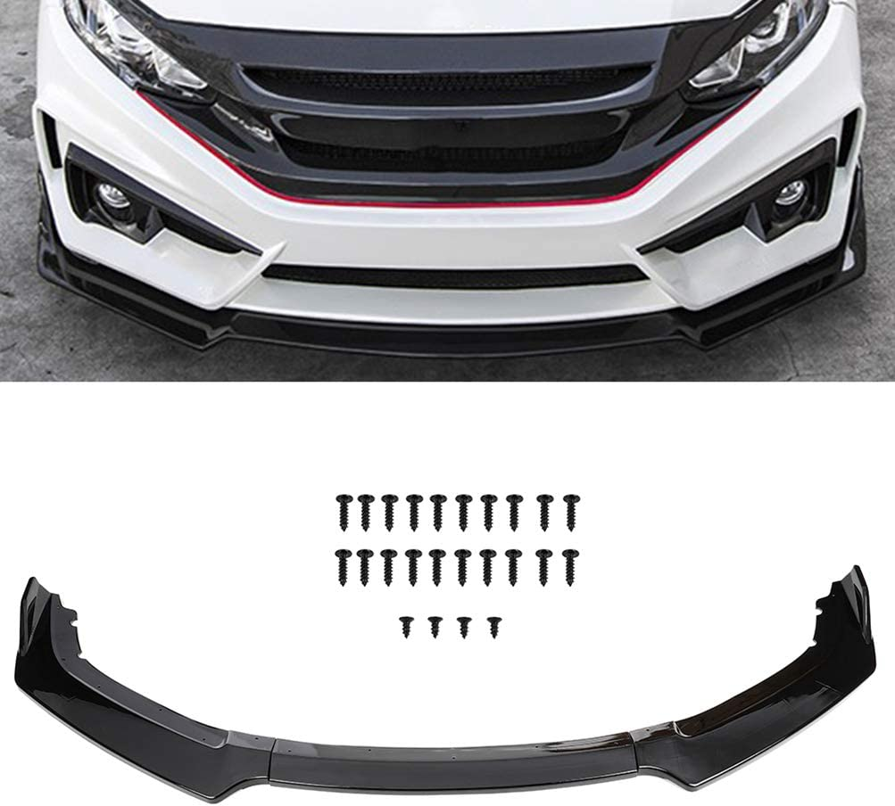 SCITOO 3PCS Black PP Front Bumper Body Kit Spoiler Chin Spoiler Front Bumper Lip Fit for 2016-2019 for Honda Civic Hatchback