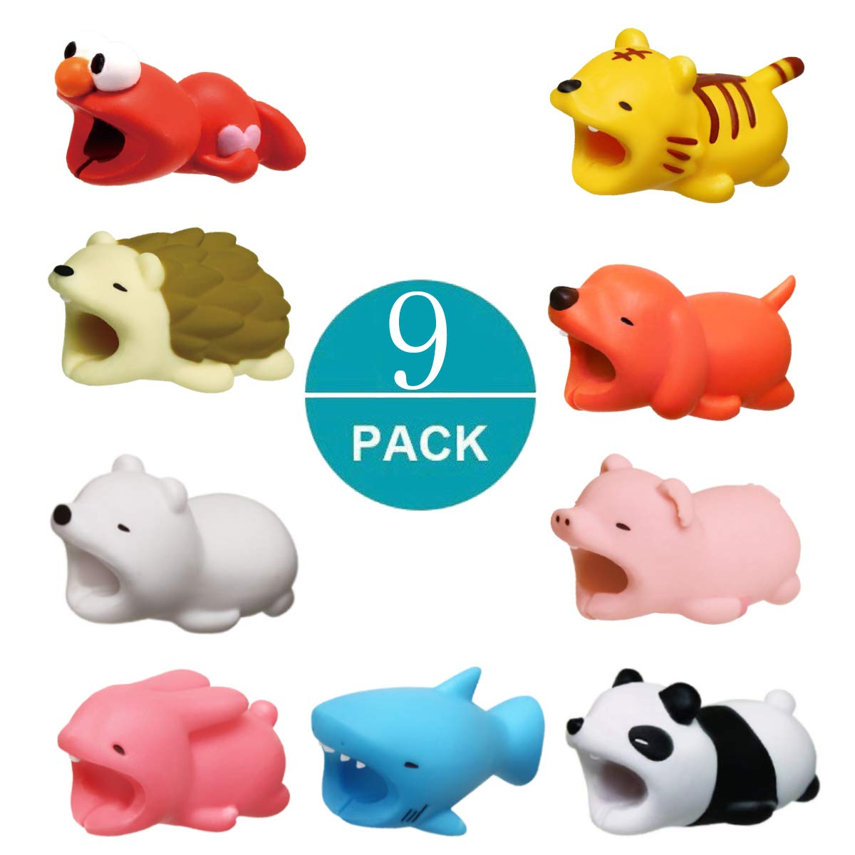 Newseego Compatible iPhone Cable Protector Charger Saver Cable Chewers Cable Cute Animal Bite Cable Accessory-9 Pack
