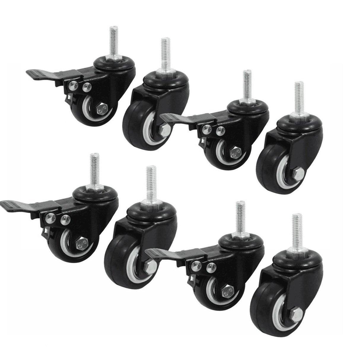 Set of 4 Casters,Saim Shopping Cart Wheel Trolley Brake Swivel Caster M8 1.5 Wheel Dia