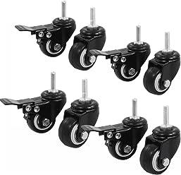 6 with Brake Set of 12 Saim Shopping Cart Wheel Trolley Brake Swivel Caster M8 1.5 Wheel Dia