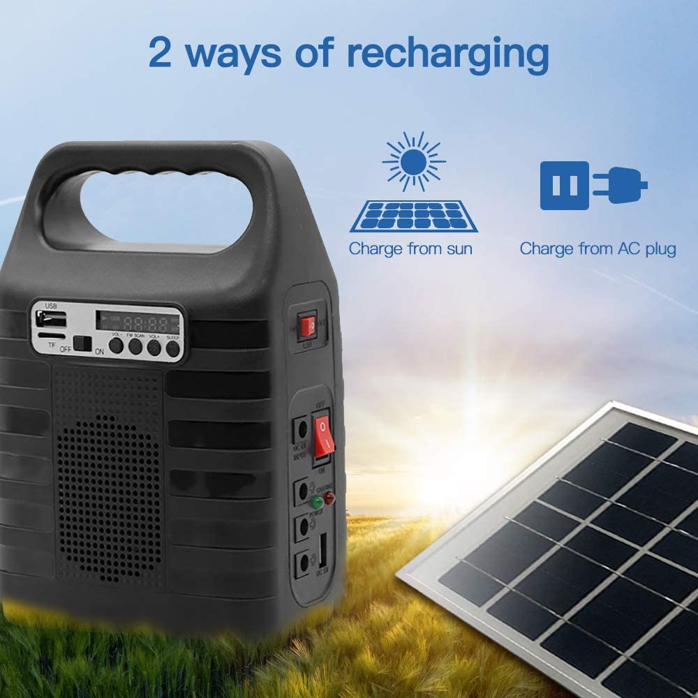Portable Solar Generator with Solar Panel Solar Power Bank Generator Solar Powered Generators Kit for Home Emergency Backup Power Outdoor Camping With Flashlights MP3 Player FM Radio LED Lights