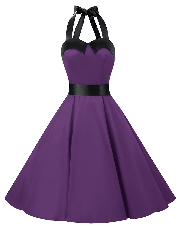 TALLA M. Dressystar Vestidos Corto Cuello Halter Estampado Flores y Lunares Vintage Retro Fiesta 50s 60s Rockabilly Mujer Solid Purple