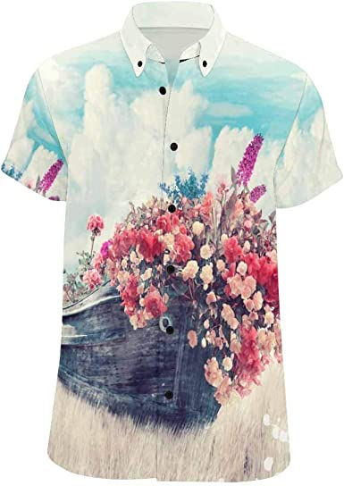 Abetteric Mens Turn Down Collar Long-Sleeve Flower Print Stylish Shirts