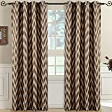 Lisette Chevron Mocha Top Grommet Jacquard Window Curtain Panel, Set of 2 Panels, 108×96 Inches Pair, by Royal Hotel For Sale