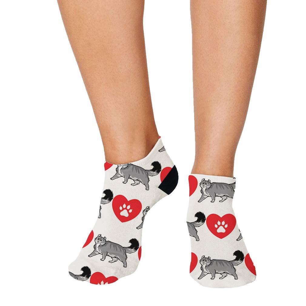 American Curl Cat Heart Paws Pattern #2 Men-Women Adult Ankle Socks