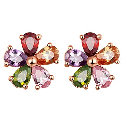 dc0b9740fe520 Buy Peora Jewellery Multicolor AAA Cubic Zirconia 18K Rose Gold ...