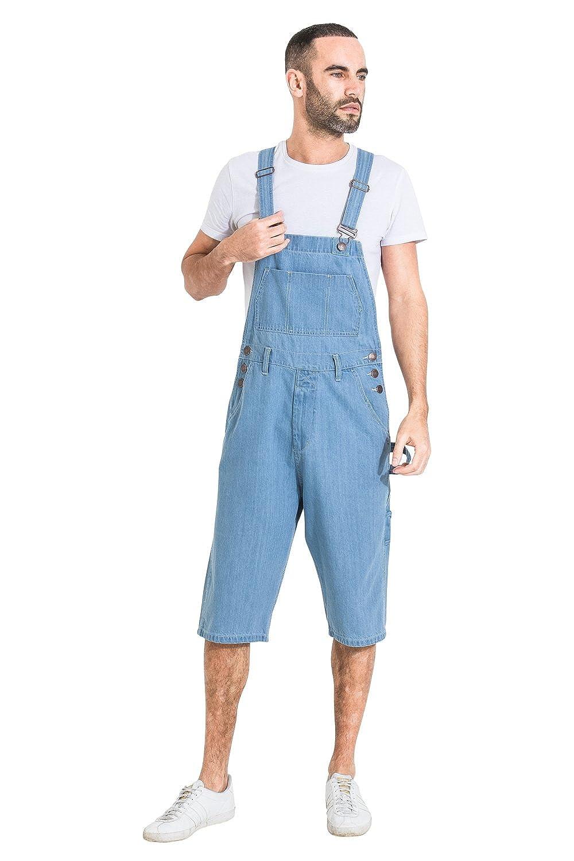 055bc895e3 USKEES Mens Palewash Denim Overall Shorts Walkshort Bib-Overall Shorts  Shortalls at Amazon Men's Clothing store: