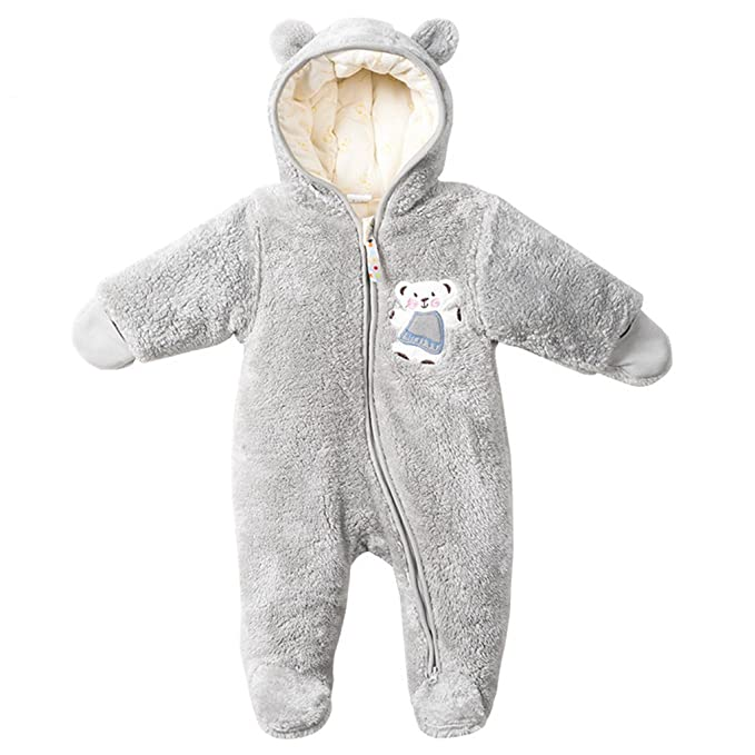 3440318e4 Vine Baby Hooded Romper Fleece Snowsuit Infant Onesies Footed ...