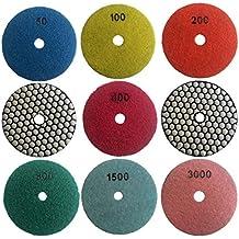 """Easy Light 4"""" Dry Diamond Polishing Pads for Granite Marble Polisher (7 Pcs Set, Grit 50-3000)"""