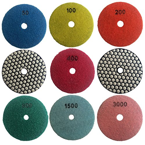 amond Polishing Pads for Granite Marble Polisher (7 Pcs Set, Grit 50-3000) ()