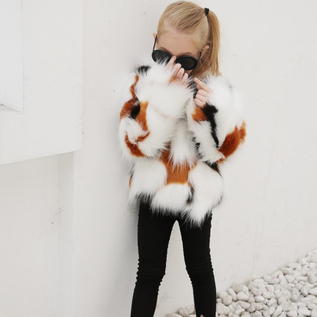Koly Manteau en Fausse Fourrure pour Enfant B/éb/é Fille,Veste Hiver Automne V/êtements de surv/êtement Chauds /épais
