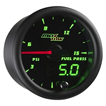 MaxTow Double Vision 100 PSI Fuel Pressure Gauge Kit Includes Electronic Sensor Green LED Illuminated Dial Black Gauge Face Analog /& Digital Readouts 2-1//16 52mm for Trucks