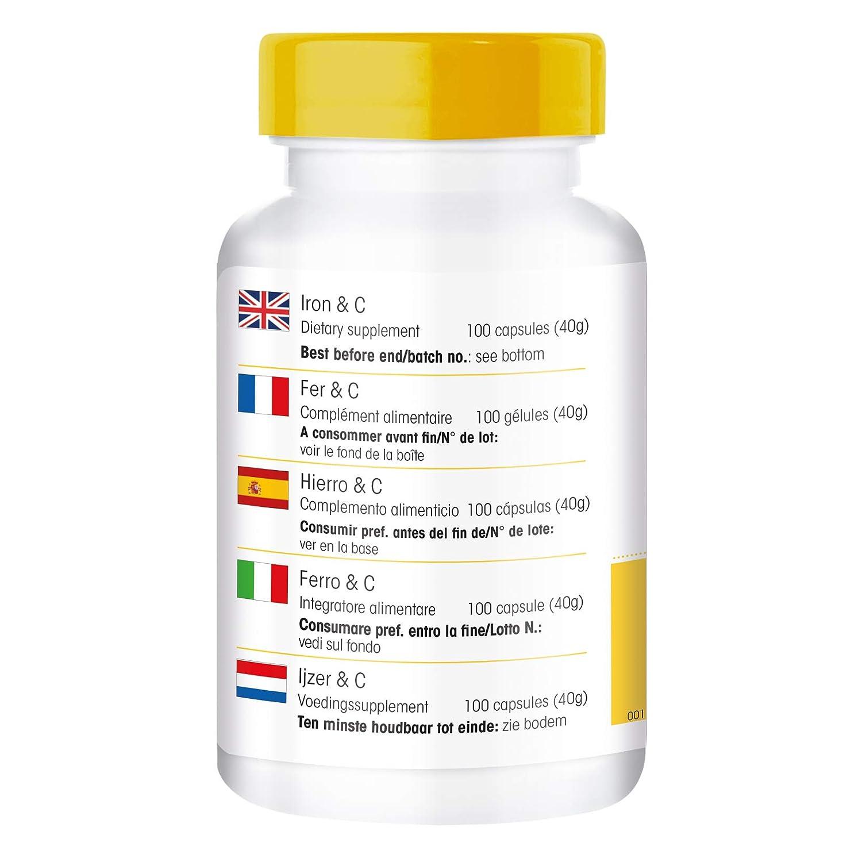 Hierro & C, 14mg de Hierro con vitamina C para la correcta obsorcion del hierro - con B12 para la formación sanguínea - con Biotina - 100 cápsulas: ...