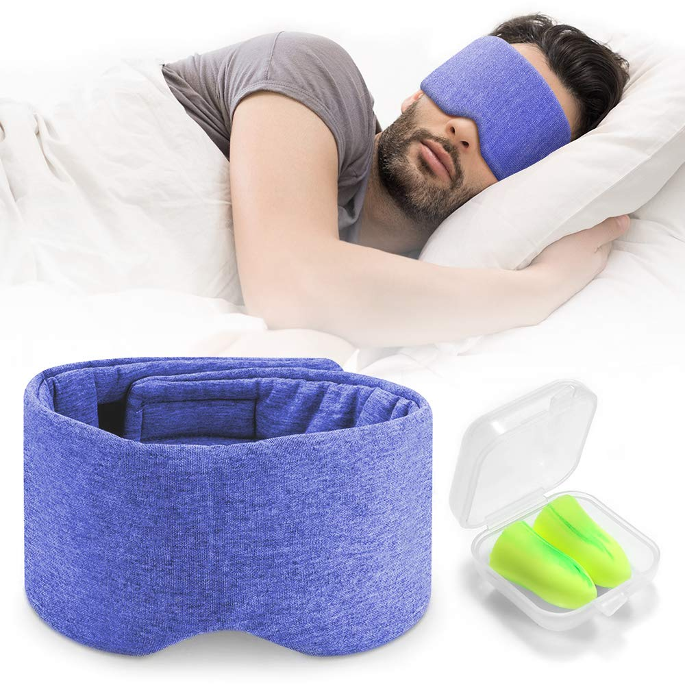 Handmade Cotton Sleep Mask - Nose Wing Design Sleeping Eye Mask Comfortable and Adjustable Blinder Blindfold Airplane with Travel Pouch - Night Companion Eyeshade for Men Women Kid (Blue) by FRESHME
