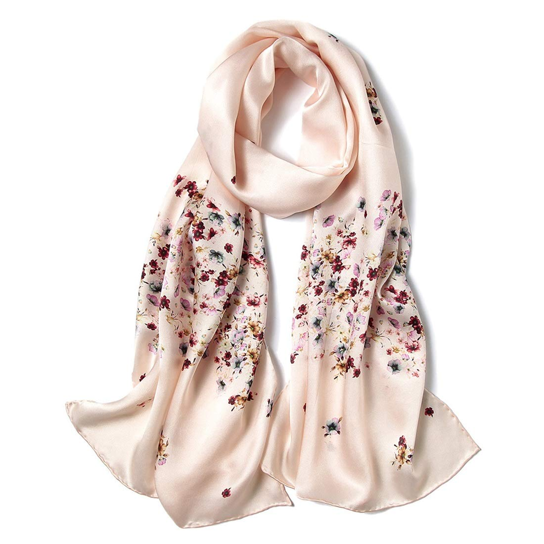 Silk Scarf Spring Summer and Autumn Satin Silk Print Long Scarf European and American Style Cold Weather Scarves (color   Yellow, Size   175cm52cm)