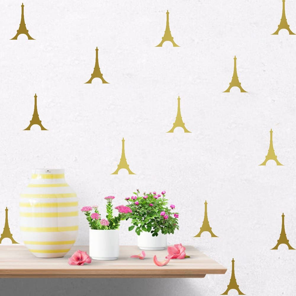 Hacaso 72 PCS 2.7 by 3.9 Inches The Eiffel Tower Wall Decal Sticker for Kids Bedroom Decor -DIY Home Decor Vinyl Paris Tower Mural Baby Nursery Room Wallpaper(Gold)