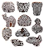 PARIJAT HANDICRAFT (Set of 10) Wooden Printing Stamp Block Hand-Carved for Saree Border Making Pottery Crafts Textile Printing