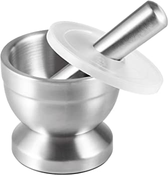 Tera Stainless Steel Mortar and Pestle with Brush