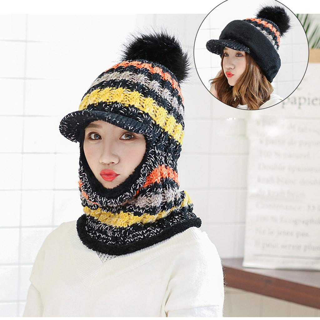 0732509bc89 Amazon.com   Vovomay Women Winter Hat with Scarf Mask Warm Large Pompom  Ball Decor Beanie Hat (Black)   Sports   Outdoors