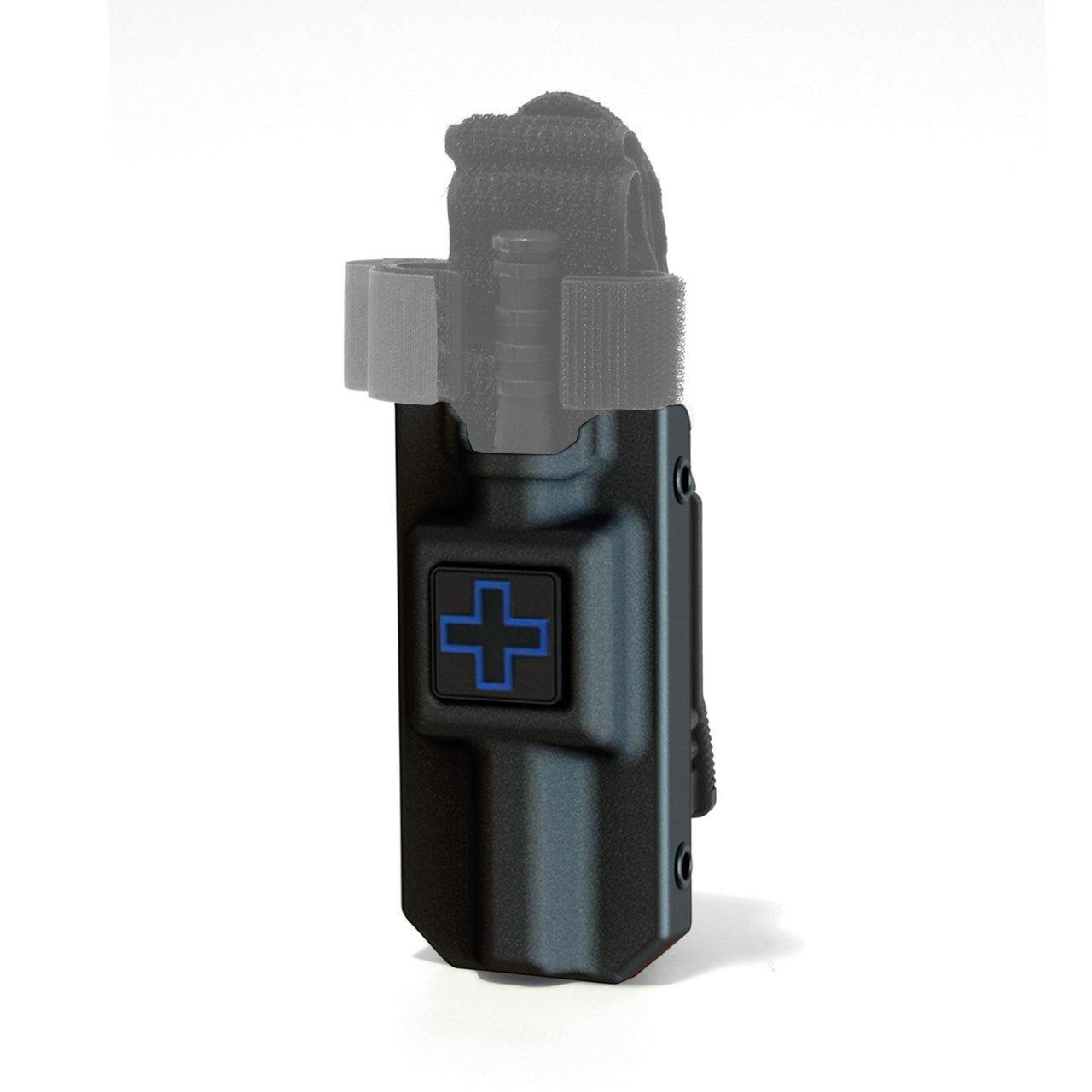 RIGID TQ Tourniquet Case for Generation 7 C-A-T Tourniquet, Belt (Tek-Lok) Attachment, Black with BLUE CROSS. (Tourniquet Not Included)