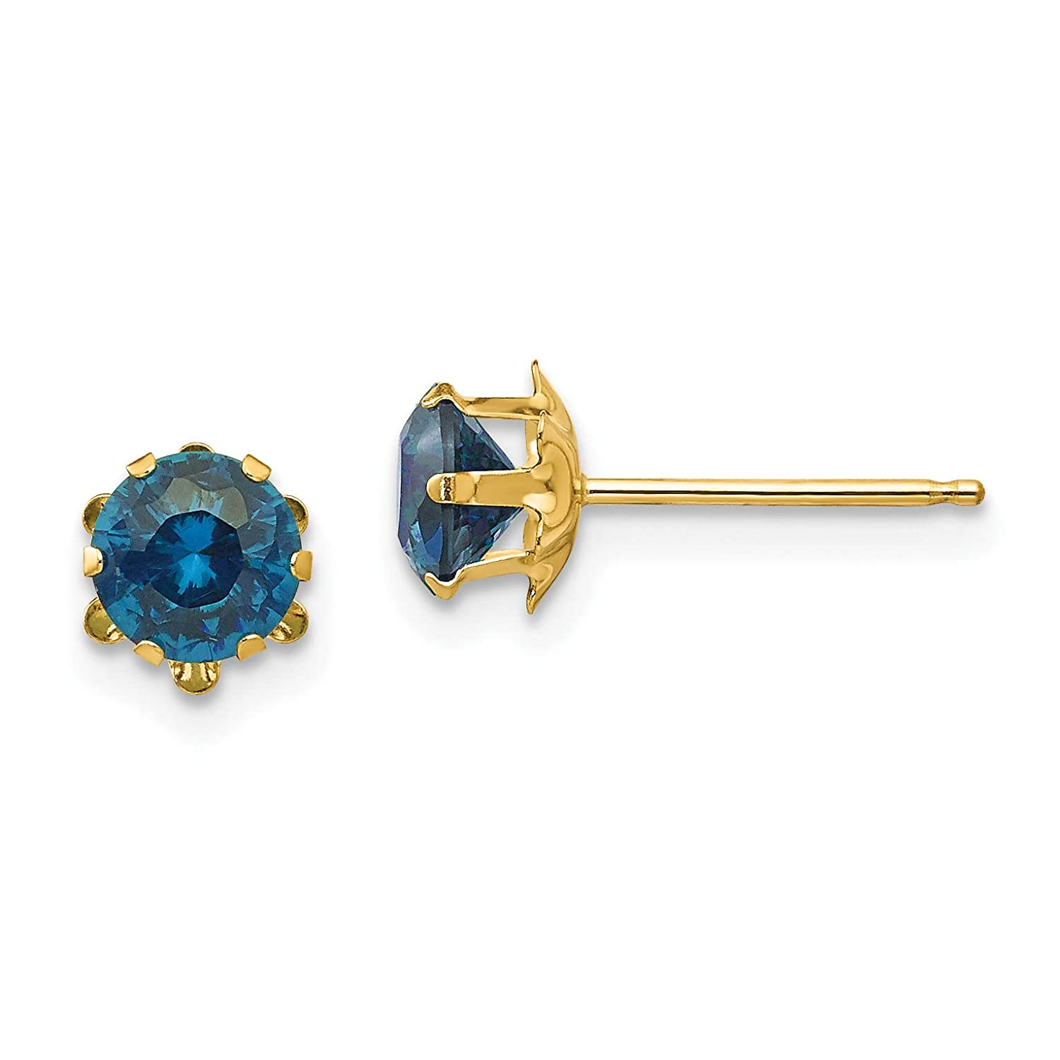 14K Yellow Gold Madi K Childrens 5 MM Synthetic December Birthstone Stud Earrings