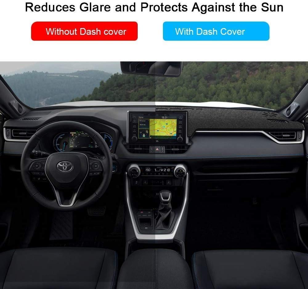Black Anti-Slip Dashboard Cover Carpet Customized Fit EONLION Dash Cover for Toyota RAV4 19-20 Frontier Sunshield Mat Protector for Toyota RAV 4 Year 2019 2020
