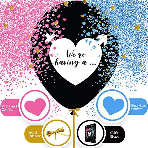 Gender Reveal Balloon - 36 inch Giant Baby Gender Reveal Balloons in Gift Box with Pink and Blue Heart Shape Confetti for Boy or Girl Baby Reveal Gender Reveal Party Supplies Decoration Kit