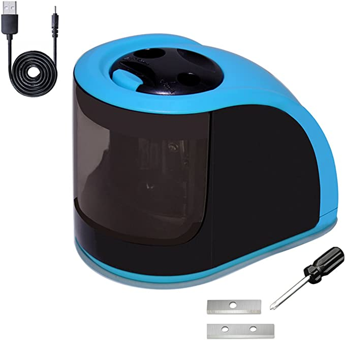 iSeaFly Portable Electric Pencil Sharpener, USB or Battery Operated Pencil Sharpener for All Kinds of Pencils (6-12mm)