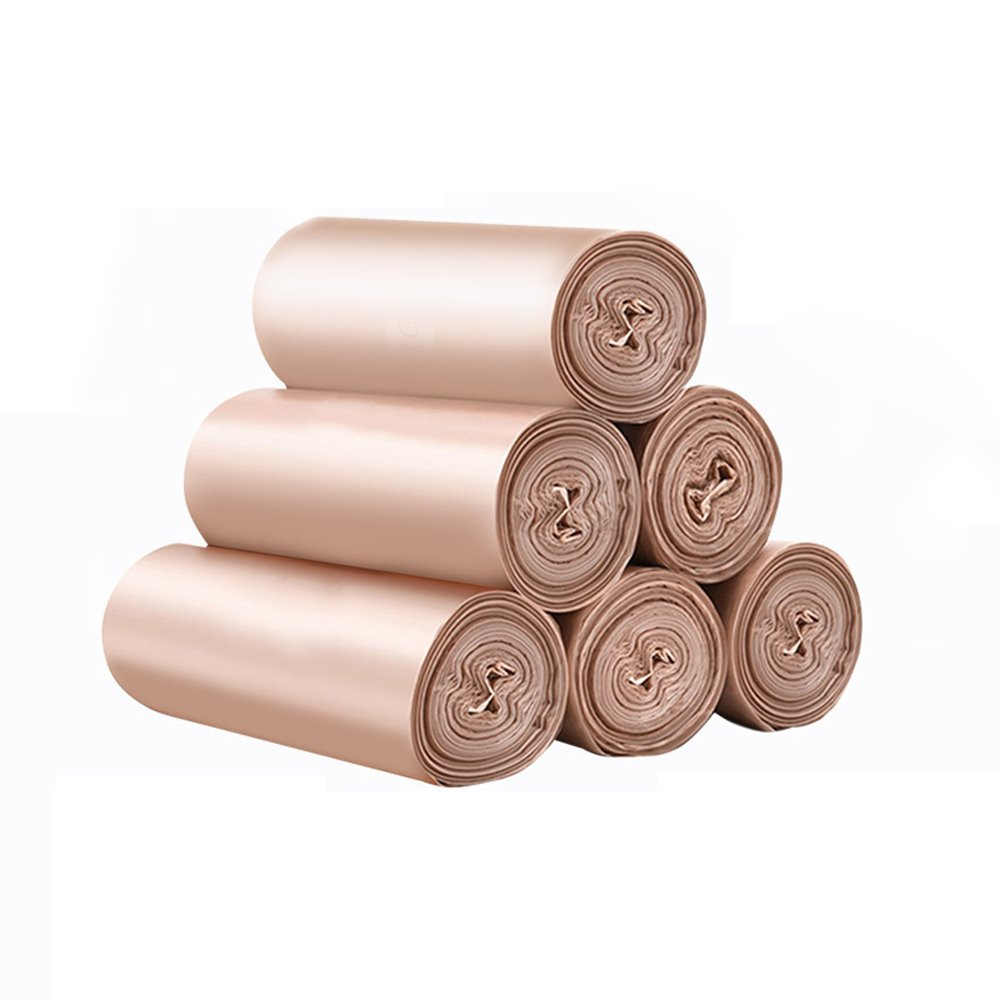 Small Disposable Plastic Trash Bags Rubbish Bin Garbage Bags Recycle Eco Home Kitchen Bathroom House Office Paper Car Waste Container Wastebasket Bags Storage (Rose Gold, 5) by WonderKathy