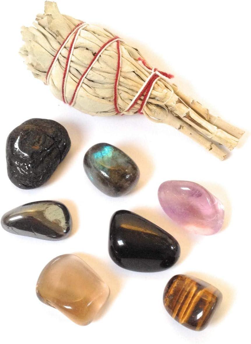 Paquete de piedras protectoras y salvia: Turmalina, labradorita, obsidiana, amatista, cuarzo ahumado, hematita, ojo de tigre, salvia blanca de california natural y fresca.