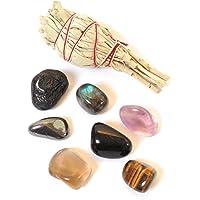 Paquete de piedras protectoras y salvia: Turmalina, labradorita