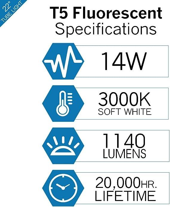 4 of F14T5//865 14W T5 6500K Daylight Linear Fluorescent Tube Light Bulb Plusrite