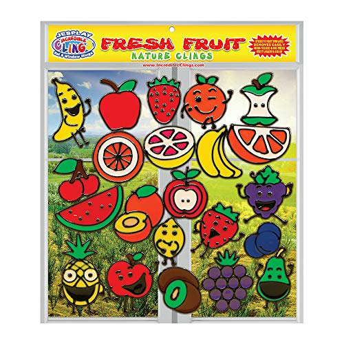 Fresh Fruit Gel Clings - Flexible Window Clings for Kids and Adults - Banana, Apple, Strawberry, Cherry and More Gel Decals - Reusable on Glass Surfaces, Smooth Walls, Flower Vases, Classrooms]()