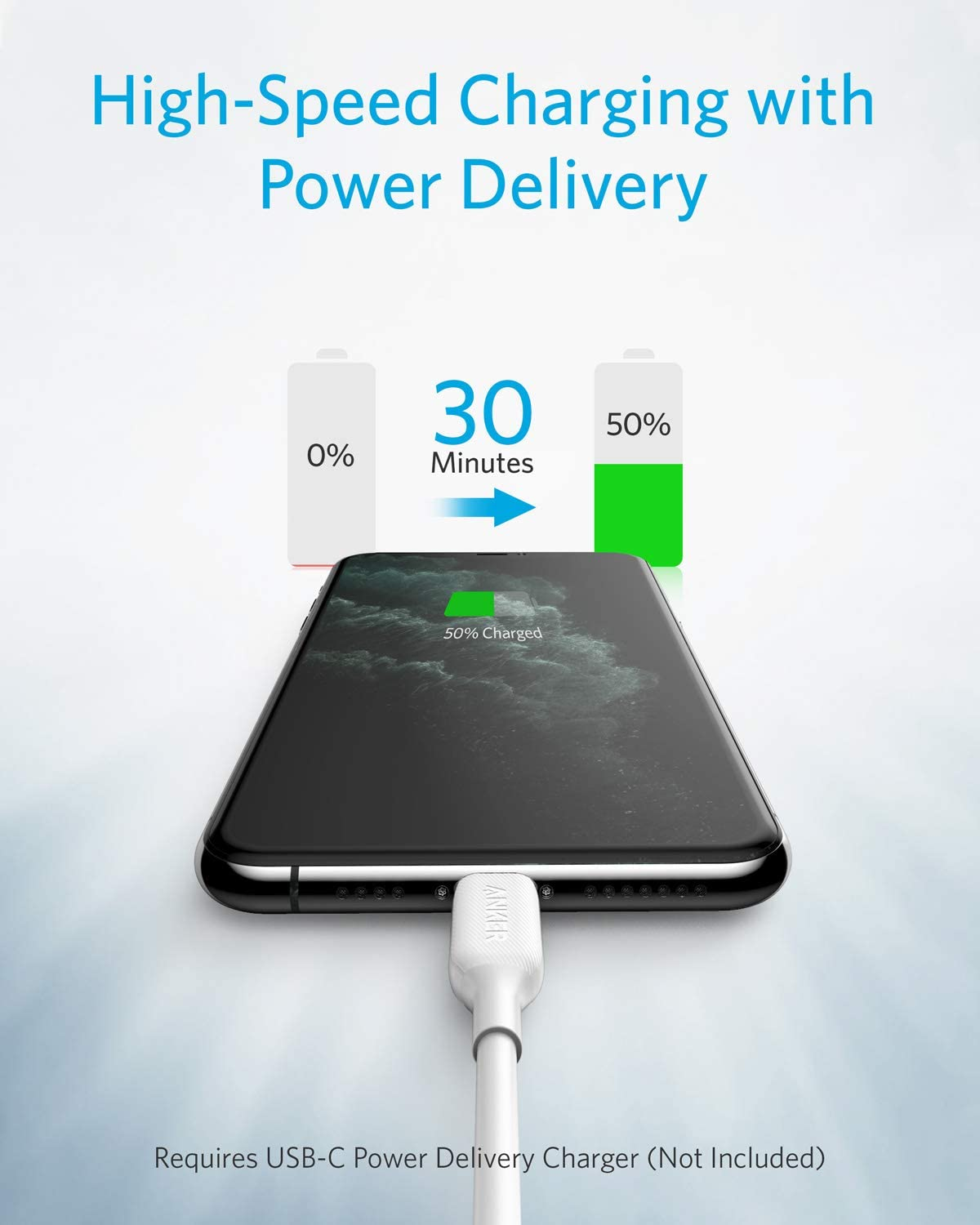 1 ft Anker Powerline III MFi Certified Fast Charging Lightning Cable for iPhone 11//11 Pro // 11 Pro Max//X//XS//XR Max // 8 Plus//AirPods Pro White Supports Power Delivery USB C to Lightning Cable