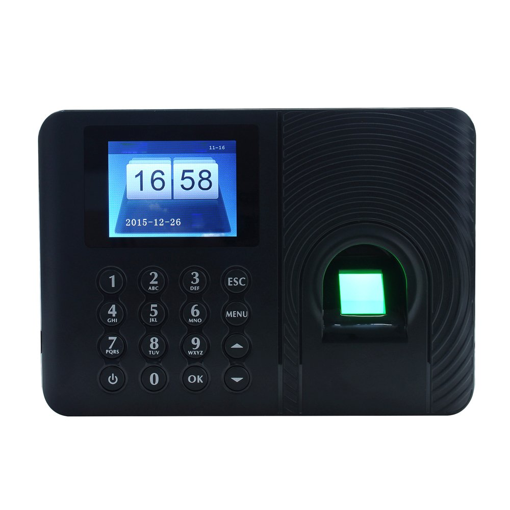 Aibecy Intelligent Biometric Fingerprint Password Attendance Machine Employee Checking-in Recorder 2.4 inch TFT LCD Screen DC 5V Time Attendance Clock