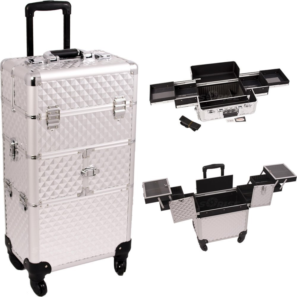 Sunrise I3164DMSL Silver Diamond 3 Tiers Accordion Trays 4 wheels Professional Rolling Aluminum Cosmetic Makeup Craft Storage Organizer Case and Easy Slide Trays
