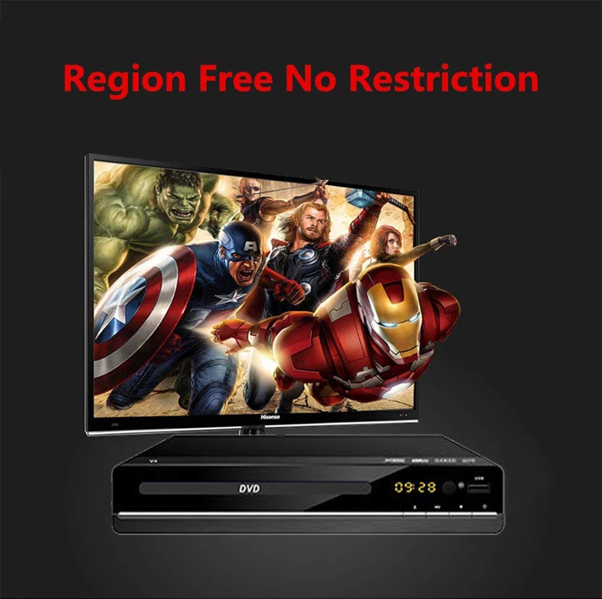 Compact DVD Player, Multi Region DVD Players for TV - Region Free Digital Player Multi- Format playability USB Port, RCA Audio Cable Hook Up, LED Display, Remote Control