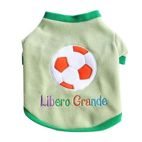 Fossrn Ropa Perro pequeño Invierno Mascotas Gato Villus Abrigo Cachorro Perrito Camiseta de fútbol