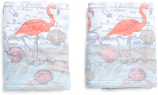 Amazon Com Sage Island Spa Flamingo Hand Towel Set Coastal Beach