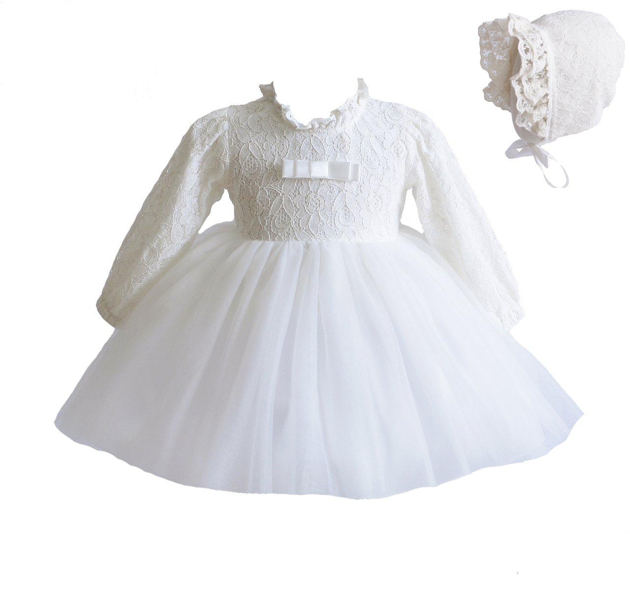 Cinda Baby-lange Hülsen-Spitze-Tauf-Party-Kleid und Mütze GZ212