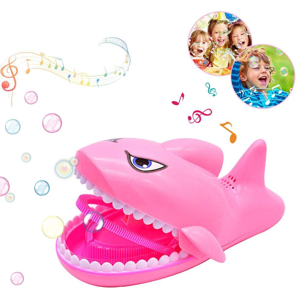 Kids Bubble Machine, Fonnee Music Automatic Shark Bubble Machine Bubble Leaf Blower Bubble Maker, for Kids Boys Girls for Christmas, Parties and Wedding with Bubble Solution(Pink) Foonee