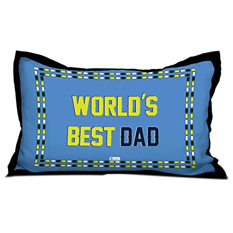 Indigifts Fathers Day Gifts Worlds Best Dad Quote Blue Pillow Cover 17x27 Inches
