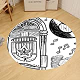 Gzhihine Custom round floor mat Jukebox Doodle Style Retro Music Box Notes Coins Long Play Vintage Sketchy Artwork Bedroom Living Room Dorm Black and White