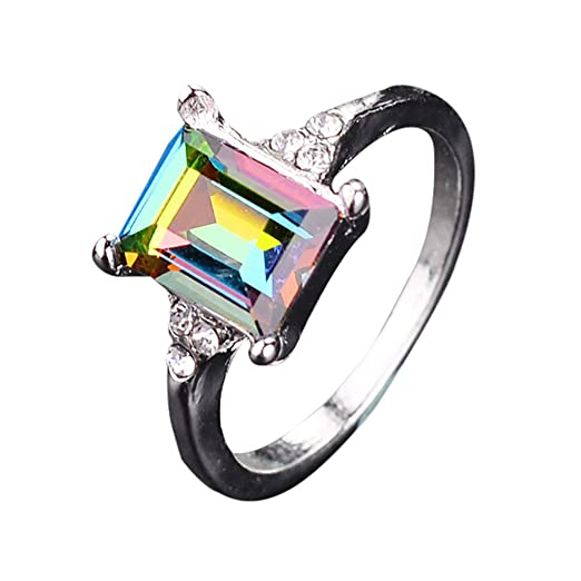 c1480582ff0a6 Amazon.com: Natural Rings,Popular Alloy Diamond Square Crystal Ring ...