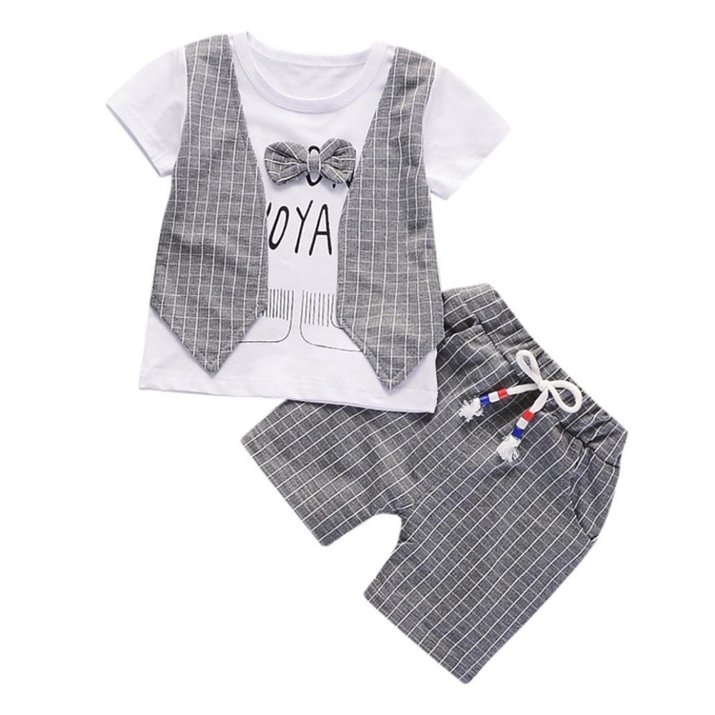 Jimmackey 2Pcs Neonato Bambino Camicia Plaid Bowknot Lettera T-Shirt Cime + Pantaloncin Abiti Set