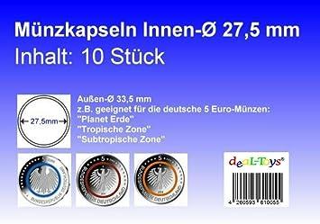 Deal Toys 10 Münzkapseln 275mm Geeignet Für 5 Euro Münze Blauer
